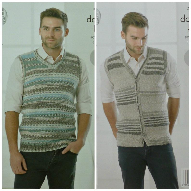 fcf5226809960 Mens Knitting Pattern K4260 Mens Easy Knit Sleeveless V-Neck Jumper and  Waistcoa.