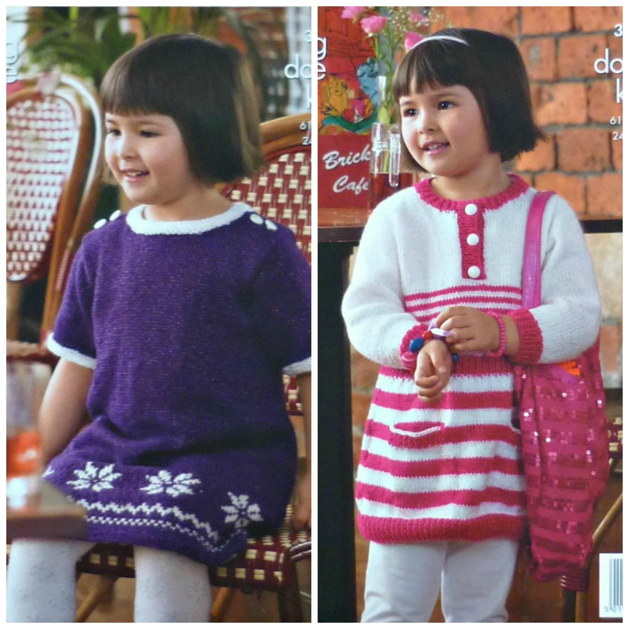 27ece17b3c3 Girls Knitting Pattern K3589 Childrens Round Neck Snowflake or ...