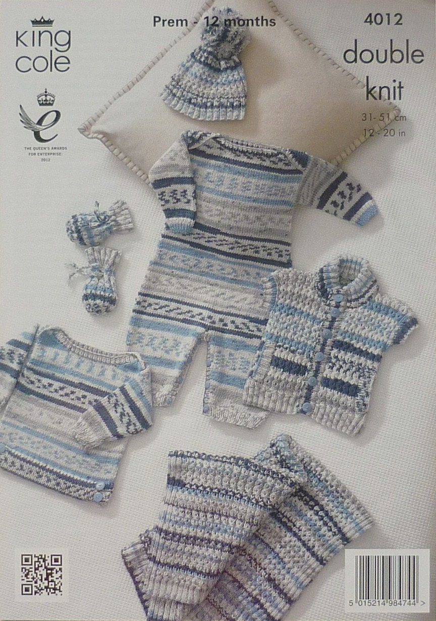 ce1cbe947392 Baby Knitting Pattern K4012 Baby s Jumper Bobble Hat All-in-One ...