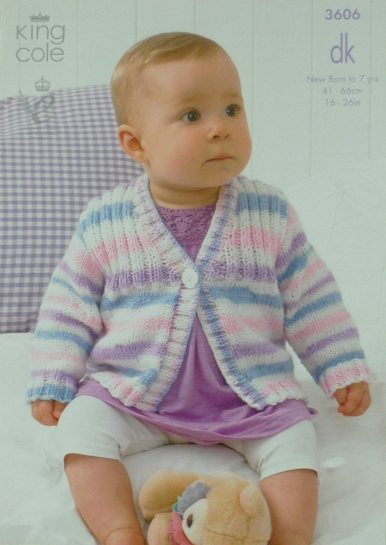 32b8fc662930 Baby Knitting Pattern K3606 Babies Childrens Long Sleeved