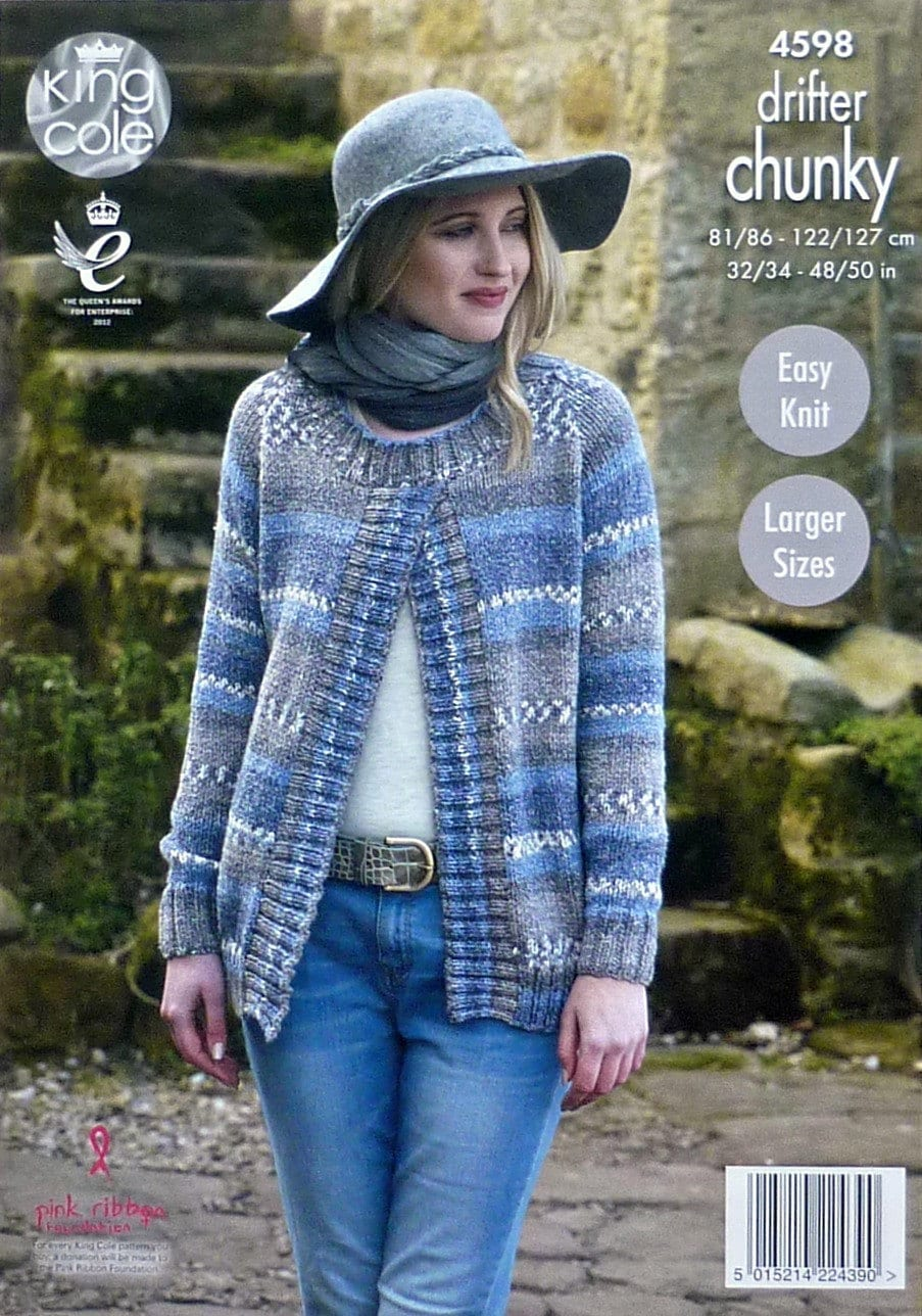 Womens Knitting Pattern K4598 Ladies Easy Knit Long Sleeve Round