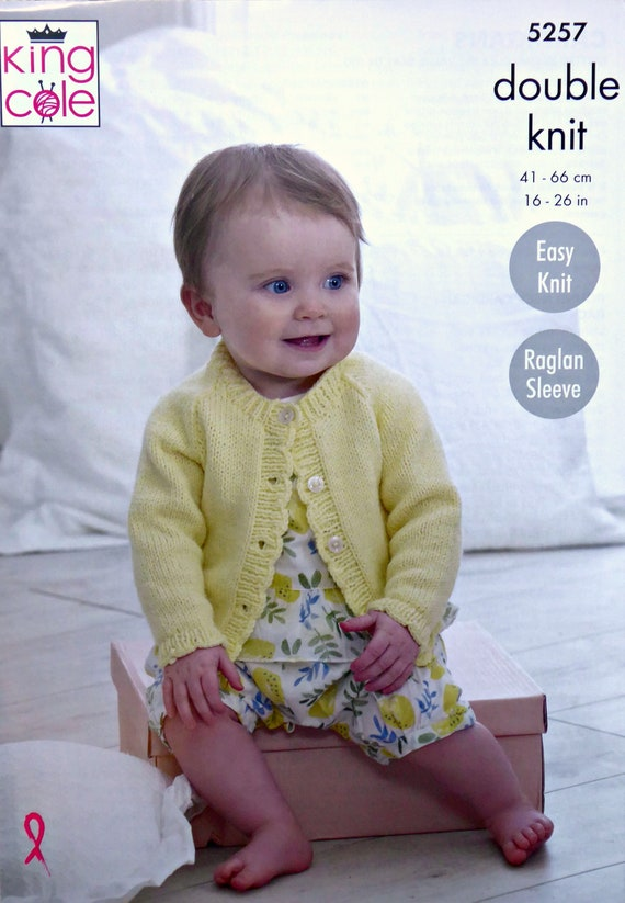 Baby KNITTING PATTERN Baby Easy Knit Hooded//Round Neck Cardigan DK KingCole 5257