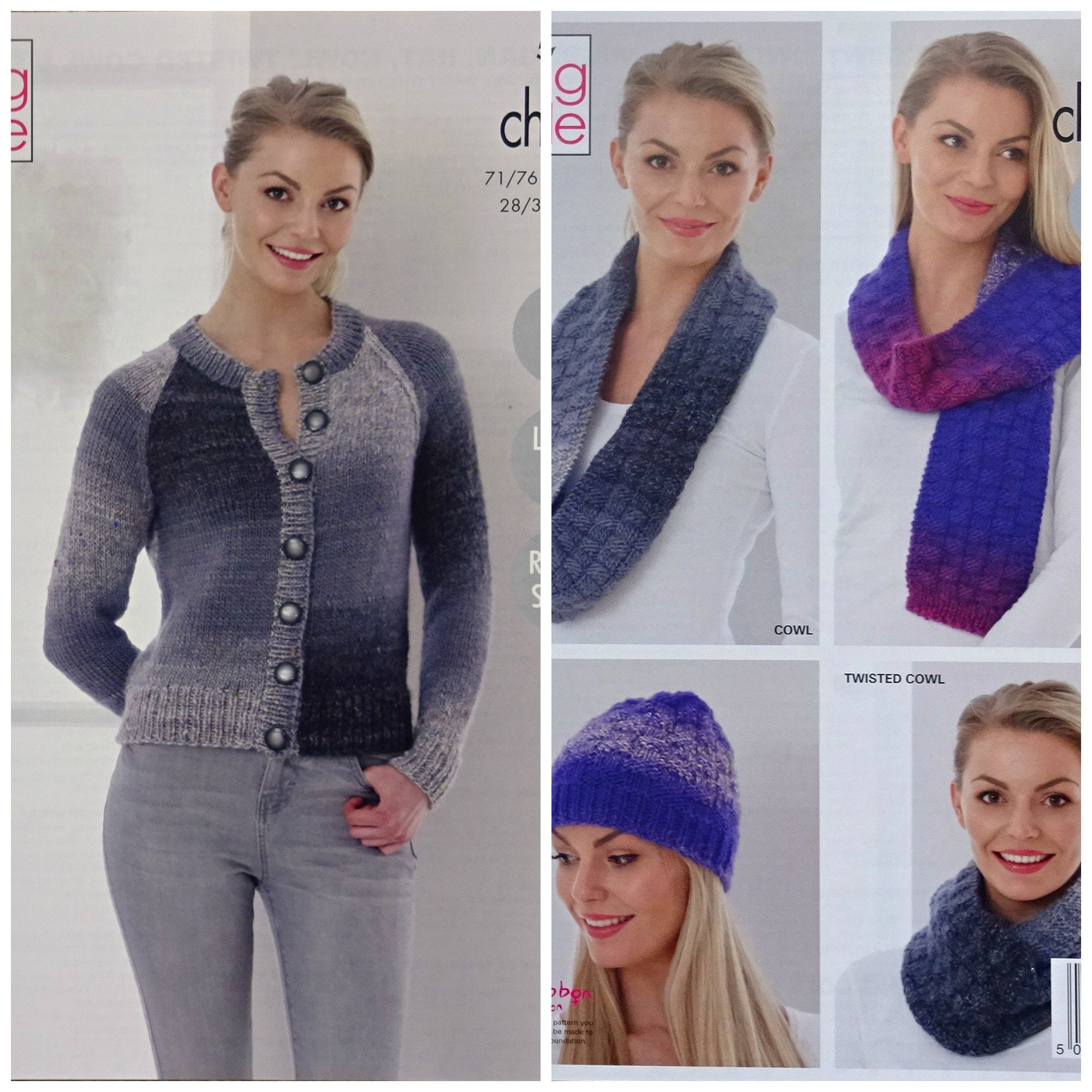 5f169792f0c3 Womens Knitting Pattern K5240 Ladies Easy Knit Cardigan Textured ...