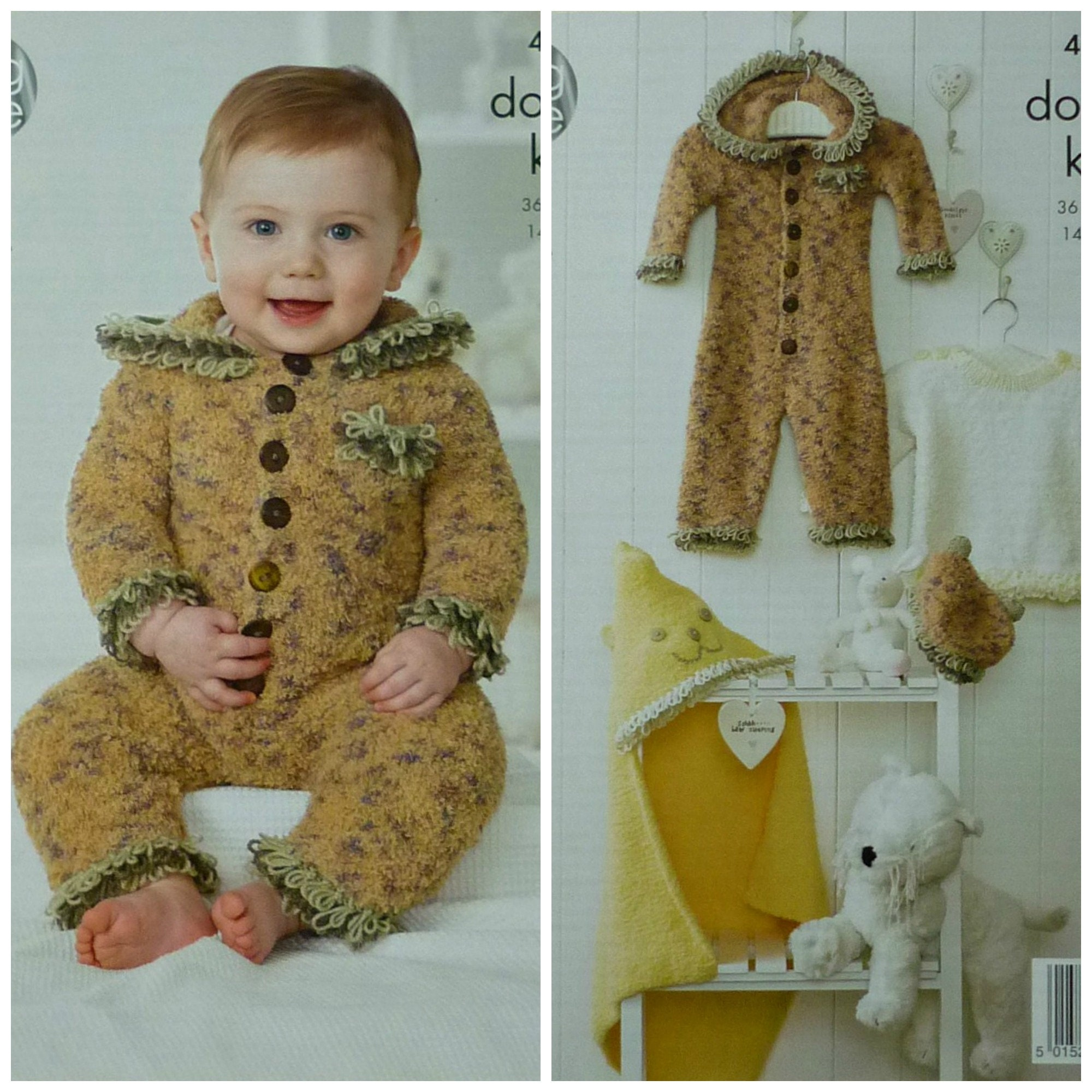 Baby Clothes Set Knitting Pattern King Cole Cuddles DK Dress Coat Waistcoat 4230