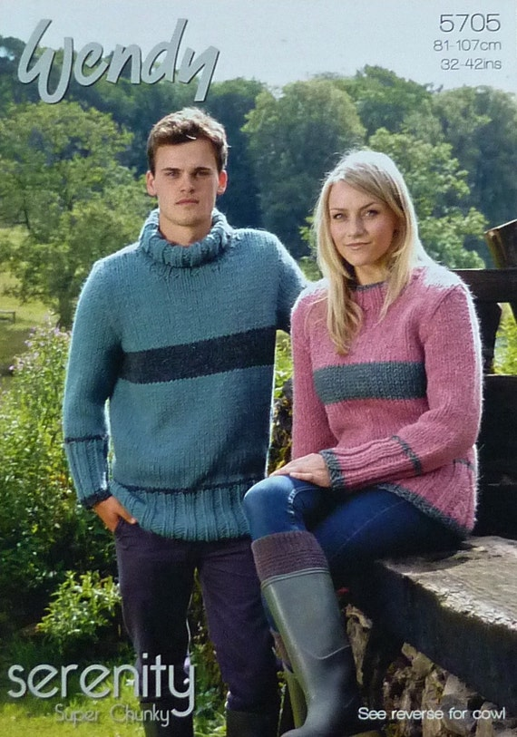 9454a00b5 Mens Knitting Pattern W5705 Ladies Mens Long Sleeve Striped