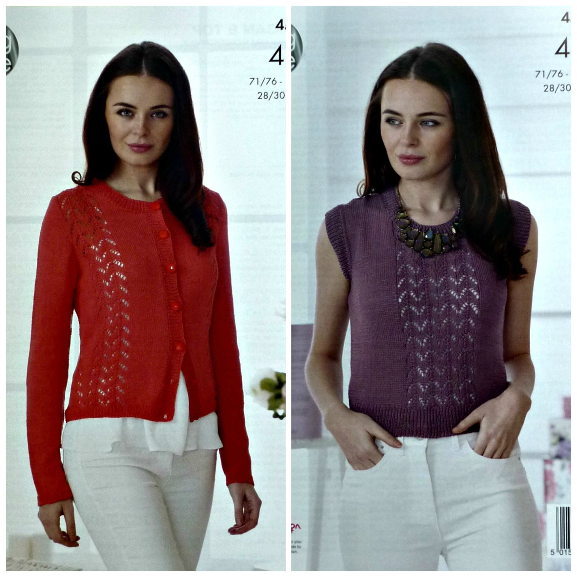 76afeb18a Womens Knitting Pattern K4502 Ladies Long Sleeve Lace Panel ...