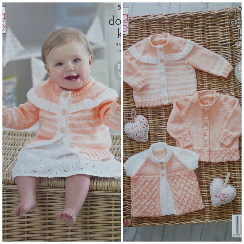 f0828b5492a3 Baby Knitting Pattern K5216 Baby s Cardigans and Matinee