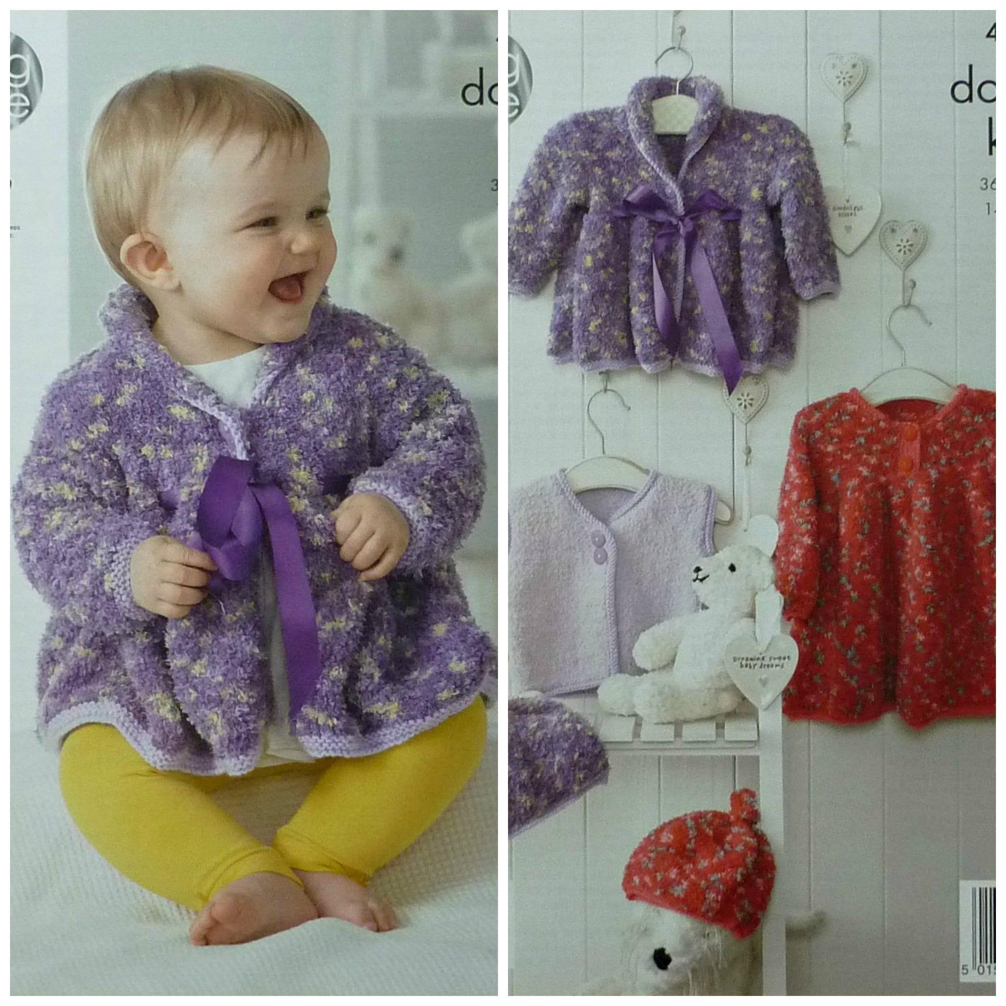 Coat Waistcoat /& Hat Cuddles Knitting Pattern 4230... King Cole Baby Dress