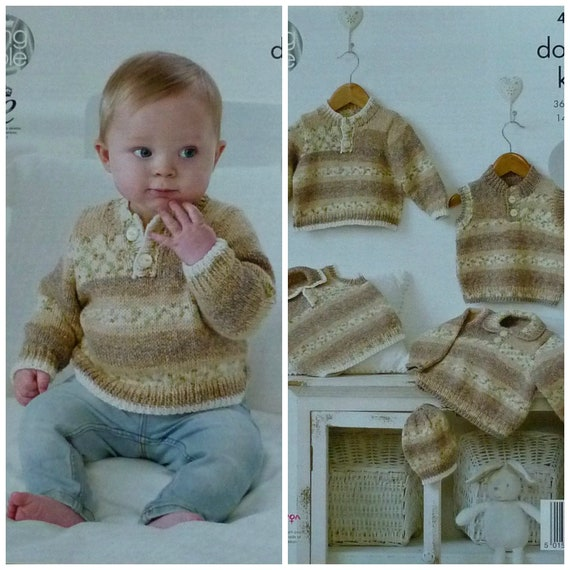 a168dc3ef779 Baby Knitting Pattern K4488 Babies Easy Knit Button Neck