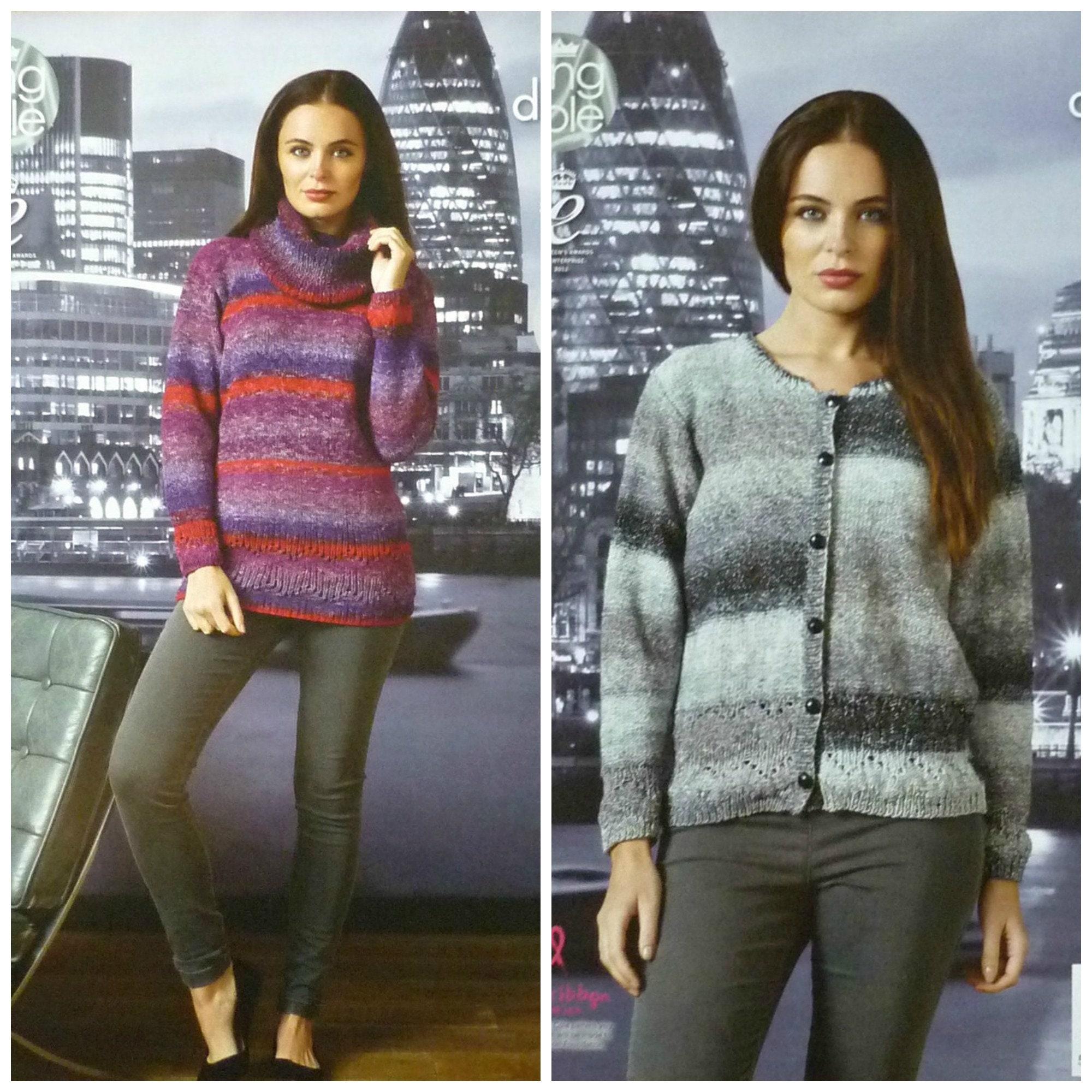 e9bf026d60797e Womens Knitting Pattern K4379 Ladies Easy Knit Long Sleeve ...