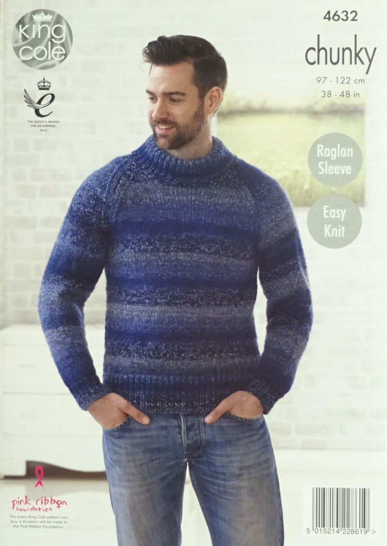Hombres tejer patrón K4632 para hombre Knit fácil largo manga puente ...
