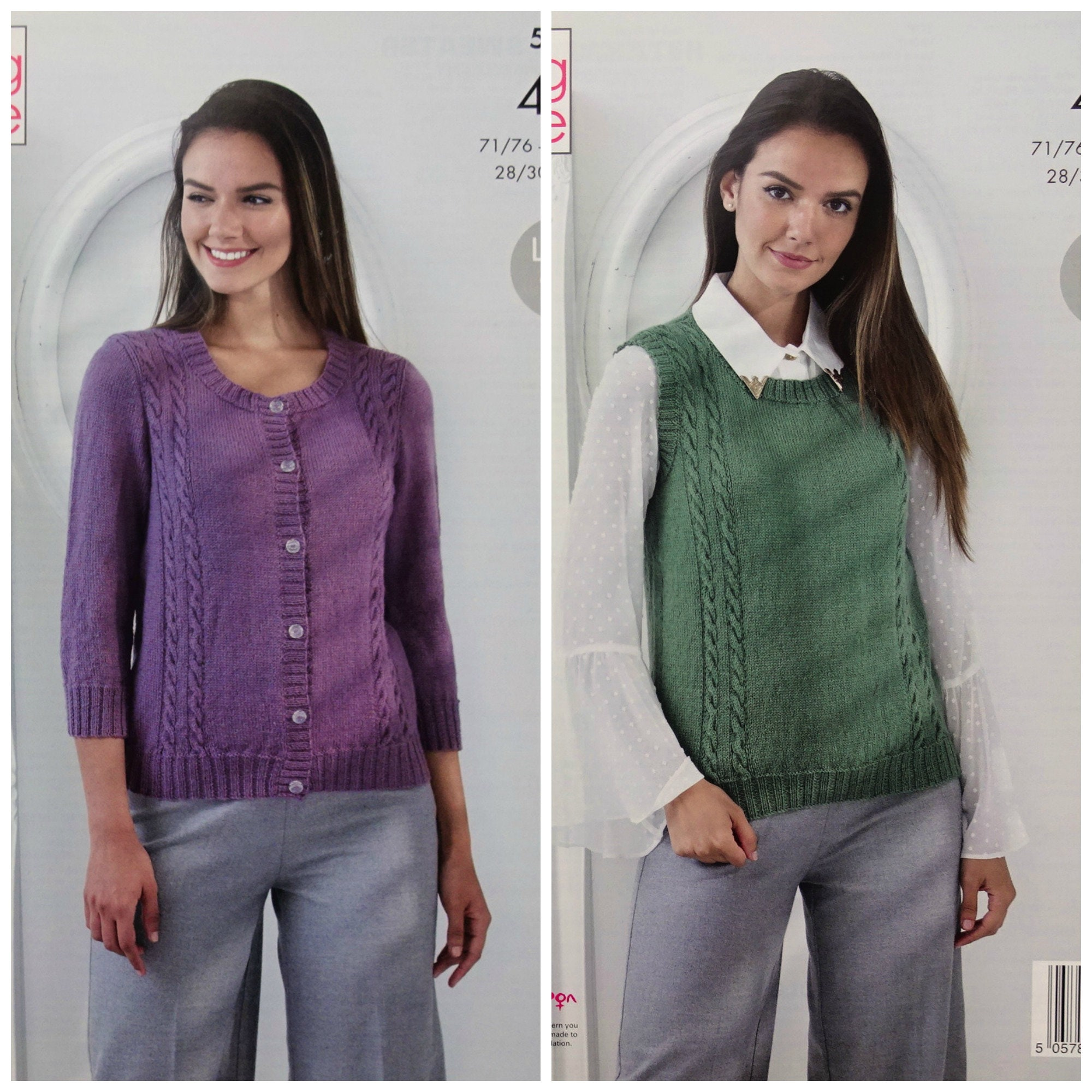 58e61b03a Womens Knitting Pattern K5348 Ladies 3 4 Sleeve Round Neck Cable ...