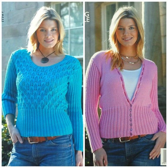 King Cole Ladies Double Knitting Pattern Womens Lacy Round or V Neck Jumper 5004