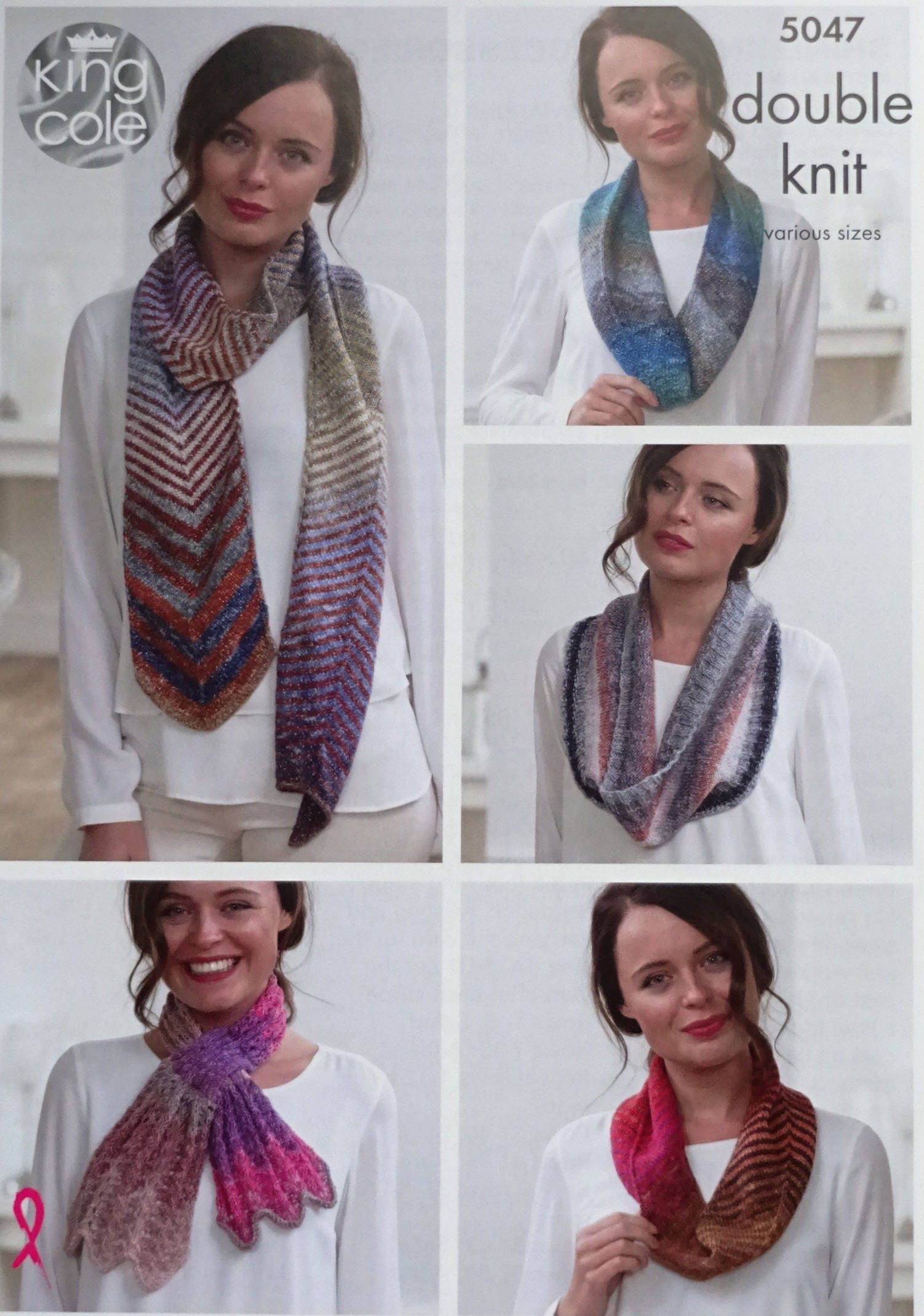 Womens Knitting Pattern K5047 Ladies Striped and Lacy Scarves and ...