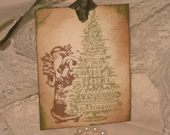 Peeka Boo Vintage Santa Hand Stamped and Distressed Gift Tags ECS