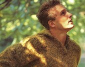 Vintage Men 39 s chunky knit jumper with shirt style neckline knitting pattern size 100 - 120 cm (39 - 47 inch) Chest - ADVENTUROUS BEGINNER