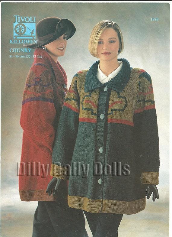 Tivoli 1828 Chunky Yarn Swing Coat Knitting Pattern Sizes Etsy