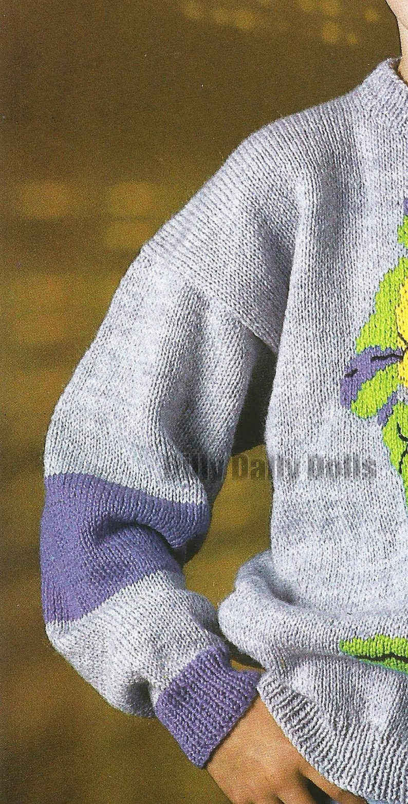 Donatello Teenage Mutant Hero Turtles sweater knitting Pattern in Double Knit yarn to fit 26 to 40 inch chest