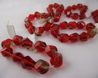 Glass Beads, Ruby Red, 8 mm Red Gold Faceted, Pkg of 22 Loose Beads for Jewelry Making