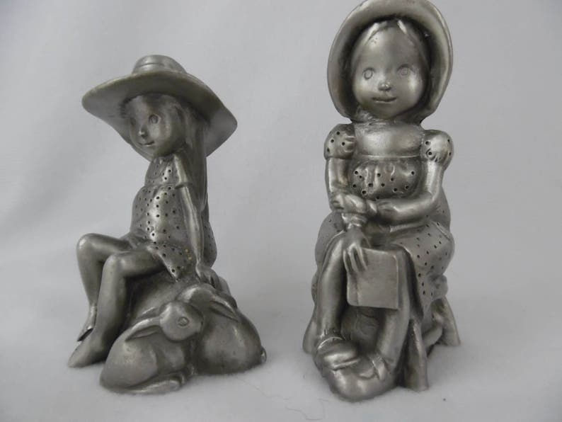 Vintage Pewter Figurines, Holly Hobby Treasure and Sweet Dreams, Set of 2  Small Collectible Pewter Figurines
