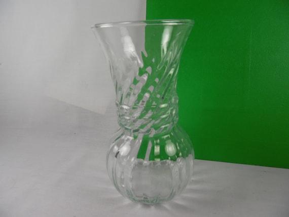 Clear Glass Flower Vase Ribbed Swirl Vintage Anchor Hocking Etsy