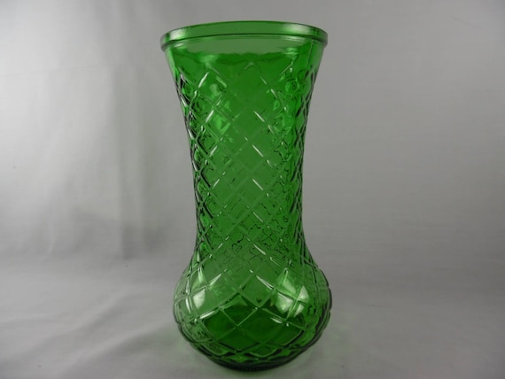 Large Vase Green Glass Hoosier Glass Basket Weave Textured Etsy