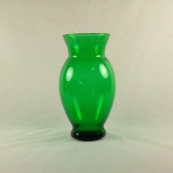 Clear Green Glass Flower Vase Vintage 1960s Anchor Hocking Etsy