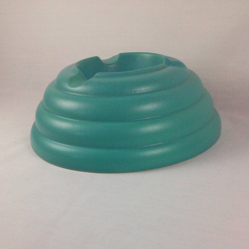 Ashtray Teal Aqua Turquoise Beehive Shaped Ceramic Save the Bees Ashtray