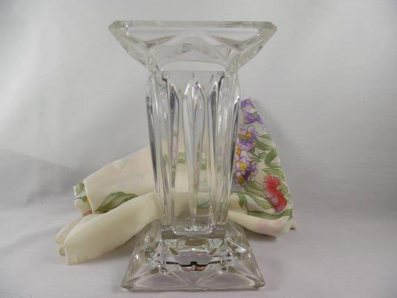 Vintage Vase Clear Glass Gorham Crystal Square Column Vase Etsy