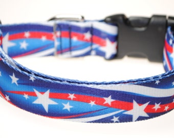 "Stars and Stripes - 1"" Wide Adjustable Dog Collar"