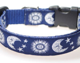 """Celestial Sun and Moon Blue and Silver 1"""" Adjustable Dog Collar"""