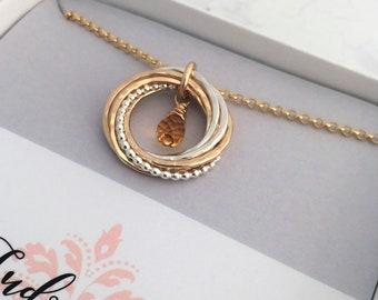 7 Ring Citrine Necklace November Birthday Gift Gemstone 70th Rings Birthstone Mixed Metals