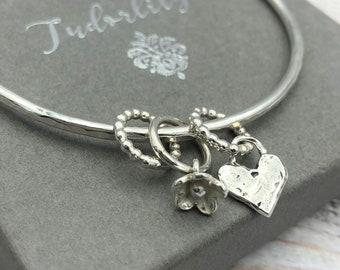 I love you a bushel glass cabochon Tibet silver bangle bracelets wholesale