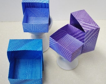Origami Masu Paste Paper Nesting Boxes-Blue w/Gray, Blue w/Purple, Purple, & Blue