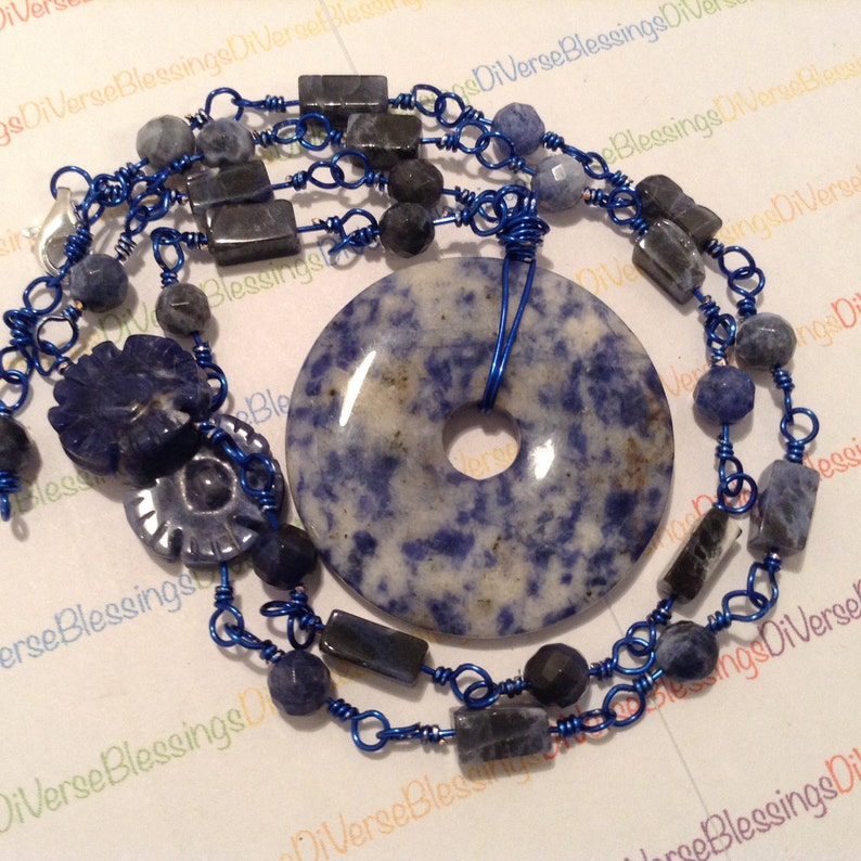 SODALITE Donut Focal Lobster Clasp Semi Precious Genuine Gemstone 23 Inch Wire Wrapped Silver Plated Copper Wire Navy Blue