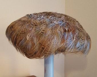 Feather Hat Vintage Casque Cap 1950s