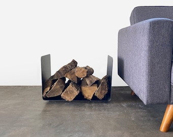 Bent Steel Log Holder - Fireplace Indoor Outdoor Firewood Home Decor Outdoor Father's Day Dad Gift