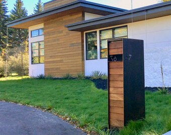 Overland Steel Mailbox - Ipe Wood - Curbside Modern Metal Letter Box