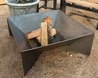 """The Fin Fire Pit 36"""" - Steel Modern Metal bowl firepit top cover Square Fire Ring Large Home Decor outdoor and gardening decor"""