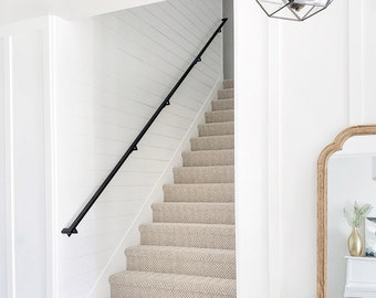 10' Modern Handrail (4 brackets) - Tube Steel hand rail wall rail stair step railing wall mount Wall Decor Home Improvement