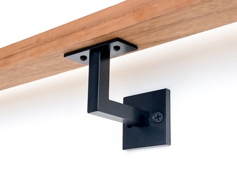"Minimal Handrail Bracket - 1/2"" Solid Steel Square Bar Bracket wall mount rail stair step railing handrail Wall Decor Metal Bracket"