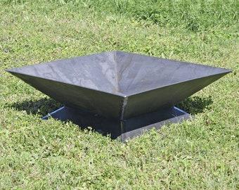 """The Zilker Fire Pit - 36"""" - Steel Modern Metal bowl firepit box"""
