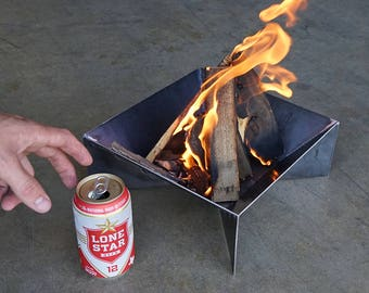 Mini Fin Fire Pit - Steel Modern Metal bowl firepit