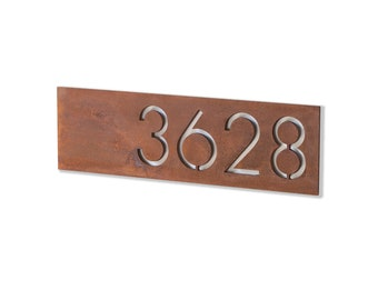 The Monroe House Numbers - Steel Modern Metal Address Plaque Home Decor Plate Outdoor and Gardening Decor