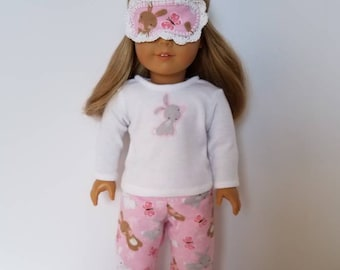 American Girl Doll Pajamas with or without sleep mask. Little Bunnies and Butterflies