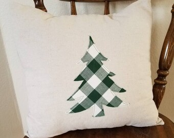 Farmhouse style Christmas tree pillow cover