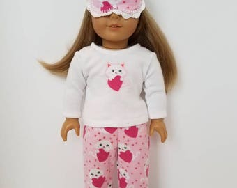 American Girl Doll Pajamas with or without sleep mask. Kitty Love