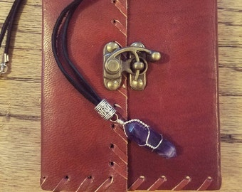 SALE! Leather Spell Book, Wire-Wrapped Amethyst Necklace & Silver Pentacle Necklace