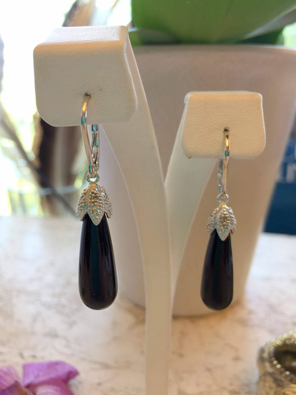 Handmade Jewellery Black Onyx Silver Plated 7 Grams Earring 1.5 Long Outstanding