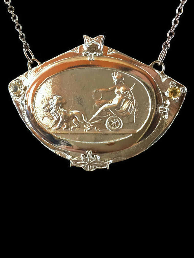 Rhea Greek Mythological Pendant Necklace Sterling Silver Bronze Citrine  Garnet Cybele in Chariot with Lions 2 1/4